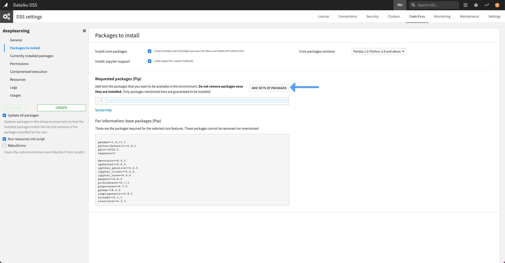 Runtime and GPU support — Dataiku DSS 5 1 documentation